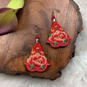 Red Floral Embroidered Statement Earrings